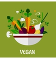 Colorful vegan poster with flat vegetable icons vector image