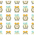 flat clocks seamless pattern design - alarm vector image