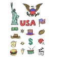 American Doodle set color vector image