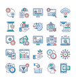 analytics and investment flat icons set vector image vector image