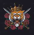 angry tiger head in crown vector image vector image