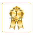 award ribbon gold icon blank medal with laurel vector image vector image
