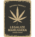 banner for legalize marijuana with cannabis leaf vector image vector image