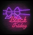 black friday red neon sign with purple bow vector image vector image