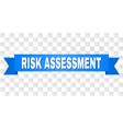 blue ribbon with risk assessment title vector image vector image