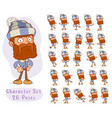 cartoon bearded lumberjack big set for animation vector image vector image