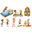 children and mother doing different activities vector image vector image