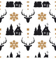 christmas seamless pattern with deers houses fir vector image vector image