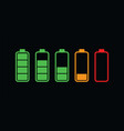 colourful battery charging levels icon set vector image vector image