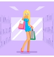 Girl shopping bag package purchase flat design vector image vector image