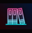 glowing neon line office folders with papers and vector image vector image