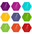 guitar icons set 9 vector image vector image
