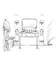 Hand drawn Bathroom Furniture and bathrobe vector image