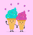 ice cream in love ice cream time ice cream vector image vector image