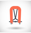 inflatable life jacket flat icon vector image vector image
