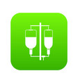 intravenous infusion icon digital green vector image vector image