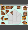 jigsaw puzzle game with dog character in kennel vector image