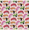 kawaii sushi seamless pattern vector image vector image