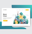 landing page template blockchain concept vector image