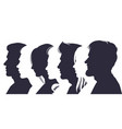 male and female profile faces silhouettes human vector image