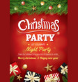 merry christmas party gift box and tree on red vector image vector image