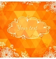 Orange triangles with doodle flowers vector image