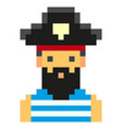 pixel art pirates art cartoon retro game style set vector image
