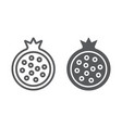 pomegranate line and glyph icon food and fruit vector image vector image