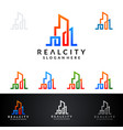 real estate logo design abstract building and vector image vector image
