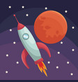 realistic color poster universe with rocket and vector image vector image