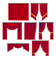 realistic detailed 3d red window curtains set vector image vector image
