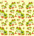 red eyed tree frog seamless pattern vector image