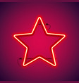 red neon star shape vector image