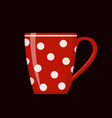 red polka dot cup on black background vector image vector image