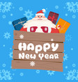 santa claus on happy new year greeting card merry vector image vector image