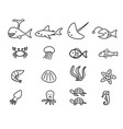 seafood and sea animal in linear style vector image vector image