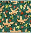 seamless pattern with acorns and leaves graphics vector image vector image