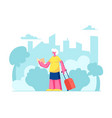 senior tourist female character with luggage vector image vector image