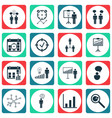 set of 16 administration icons includes report vector image vector image