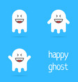 set of white happy ghost emoji vector image
