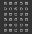 social media dark mode 3d web icons set vector image vector image
