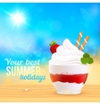Soft creamy ice-cream dessert on sunny beach vector image vector image