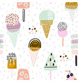 summer seamless pattern with hand drawn different vector image