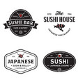 sushi shop labels and badges design templates set vector image