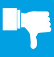 thumb down gesture icon white vector image vector image