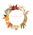 tropical dry flowers wreath floral watercolor vector image vector image