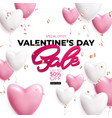 valentines day sale poster with pink and white vector image