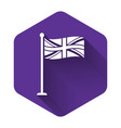 white flag great britain on flagpole icon vector image vector image