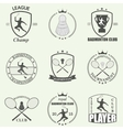 Badminton labels and icons set vector image