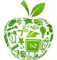 back to school apple with education icons